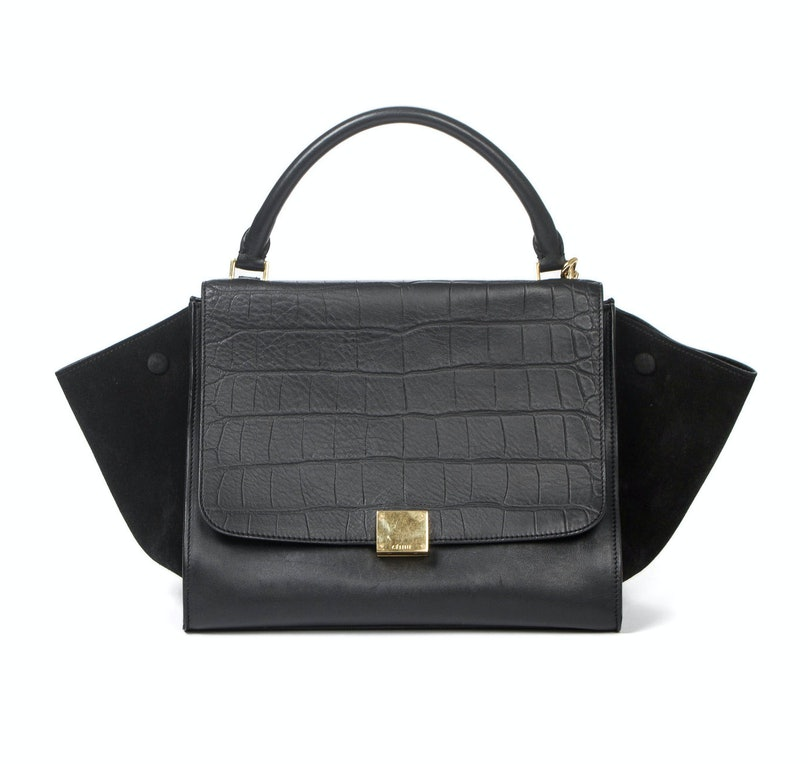 Celine medium trapeze bag in black stamped crocodile