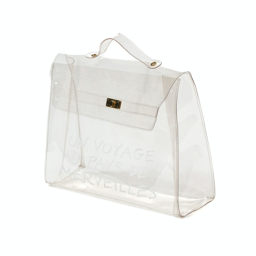 Hermes Kelly bag in transparent vinyl