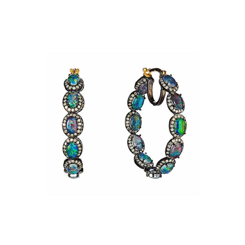 J. Hadley Australian opal and pave diamond hoop earrings
