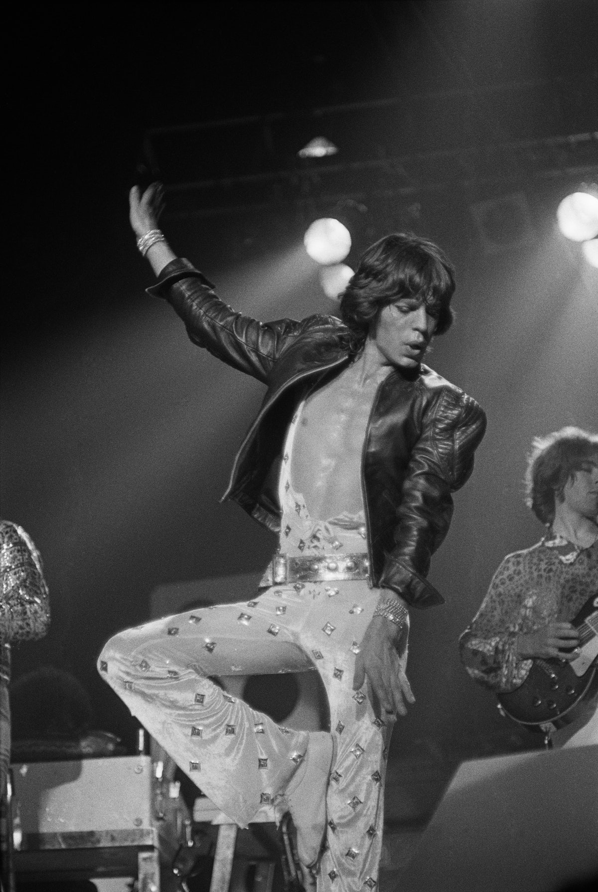 Mick Jagger performing with the Rolling Stones, 1973.