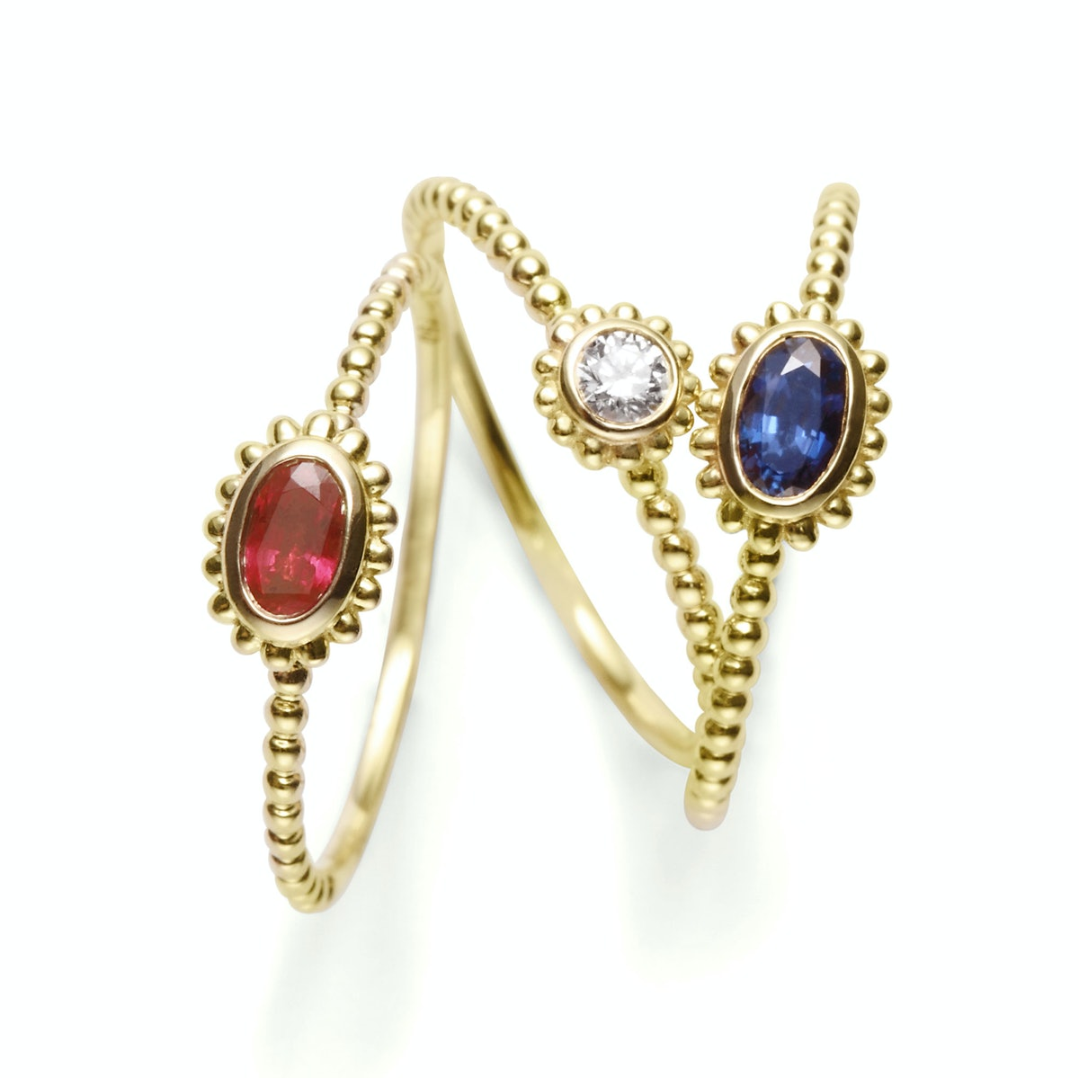 Lagos 18K gold, sapphire, ruby, and diamond rings