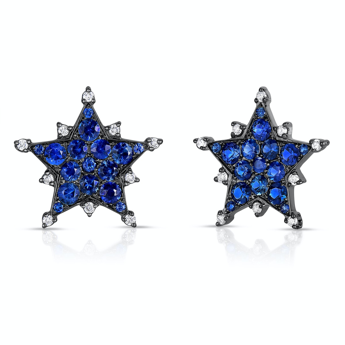 Nam Cho 18K white gold, black rhodium, blue sapphire, and diamond earrings,