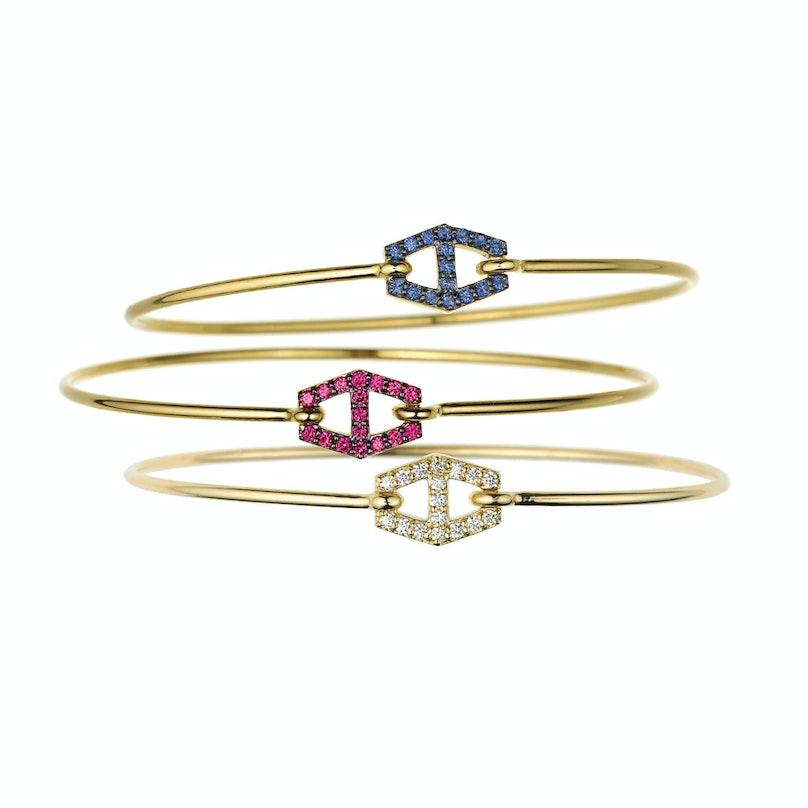 Jemma Wynne 18k yellow gold, ruby, blue sapphire, and diamond bangles
