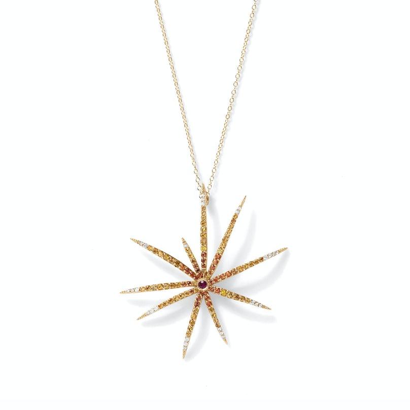 Alison Lou 14K yellow gold, ruby, orange sapphire, and diamond necklace