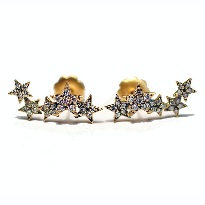 Suel 18K blackened yellow gold and diamond earrings