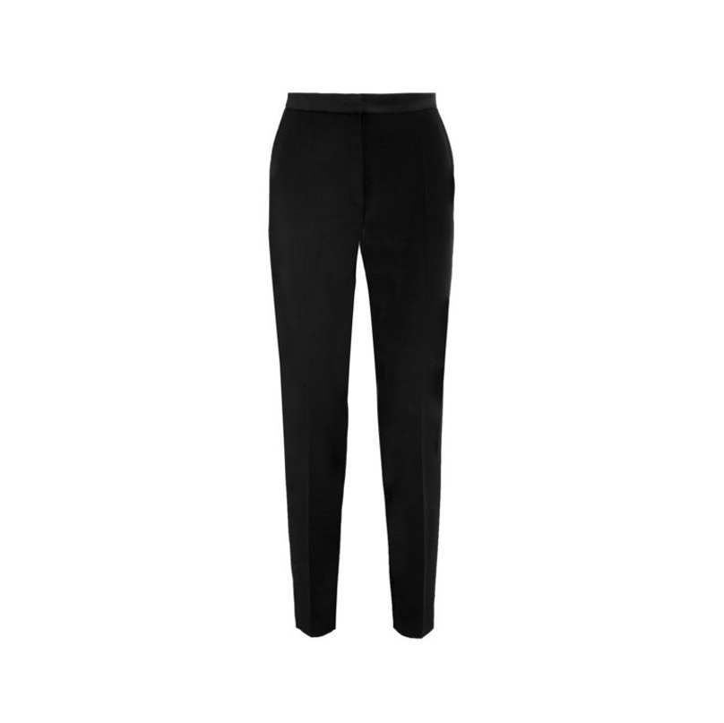 Pallas Antigone satin-trimmed wool grbardine tapered pants