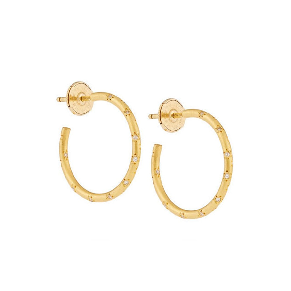Marie-Helene de Taillac 22-karat gold diamond hoop earrings