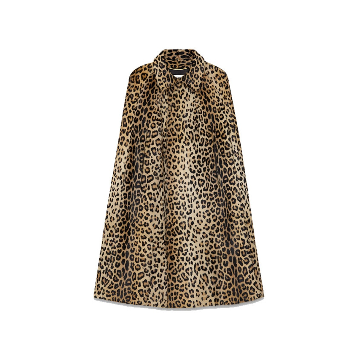 Saint Laurent Cape in Beige and Black punk leopard printed leather