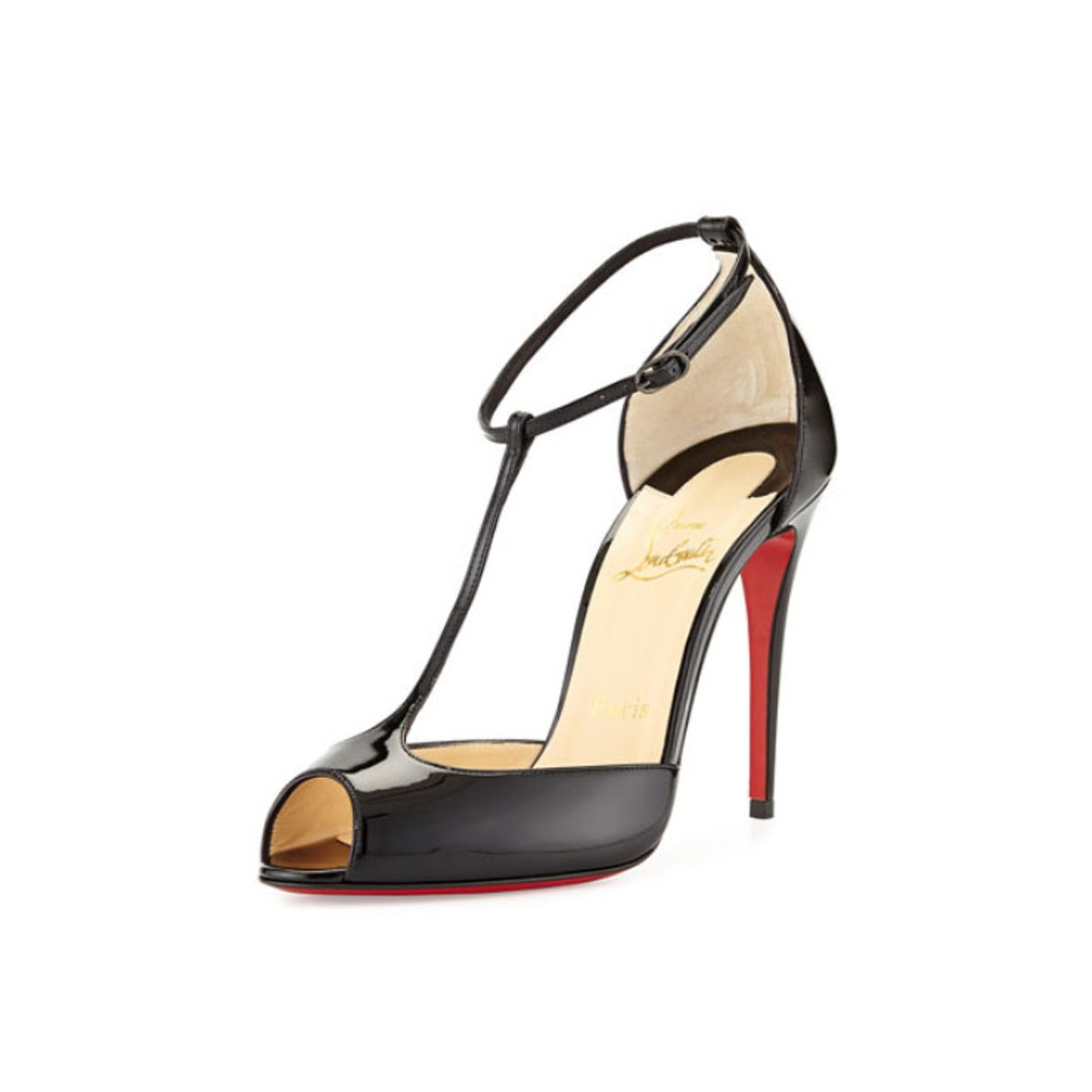 Christian Louboutin Senora Patent T-Strap Red Sole Sandal
