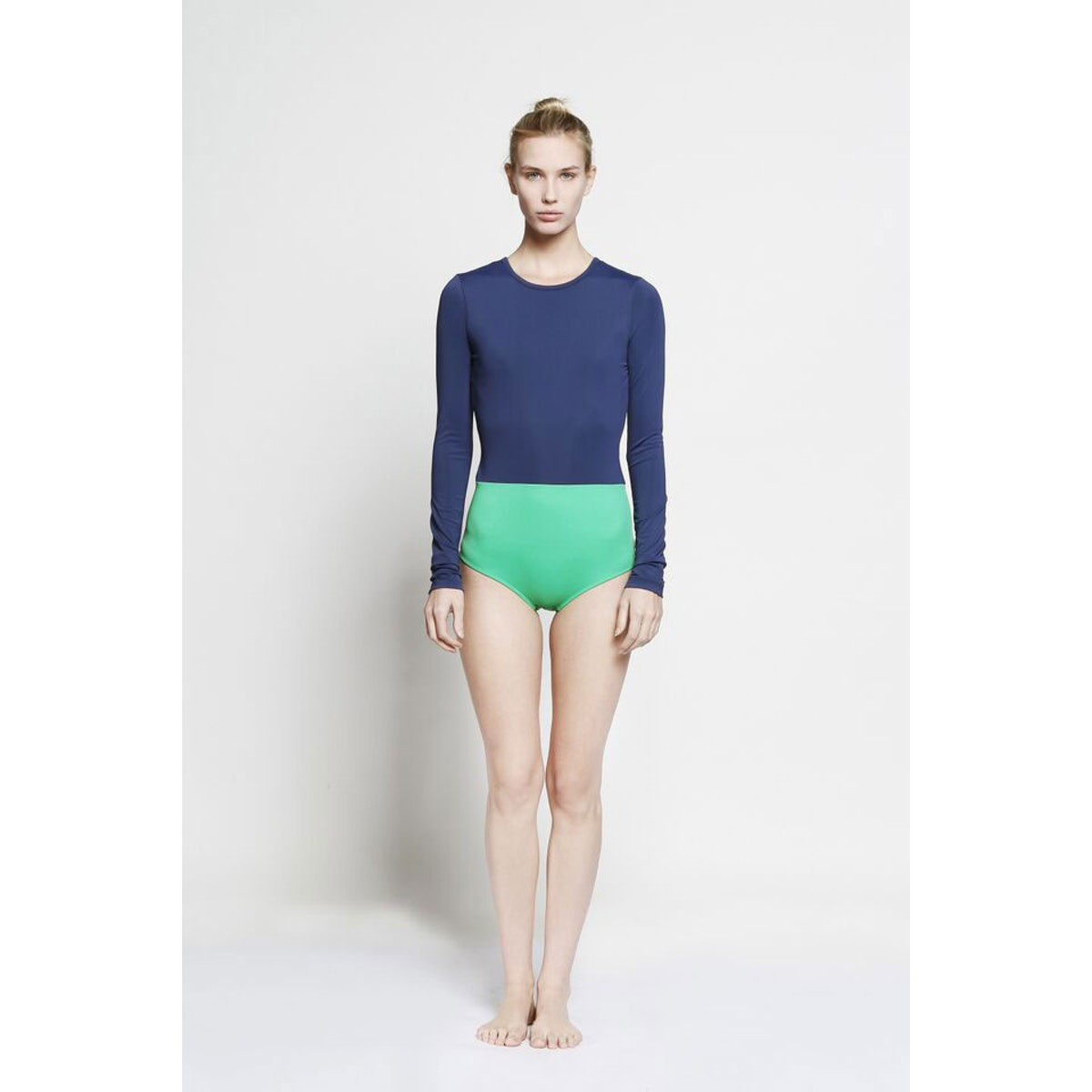 Cover Color Blocked Long-sleeved Swimsuit