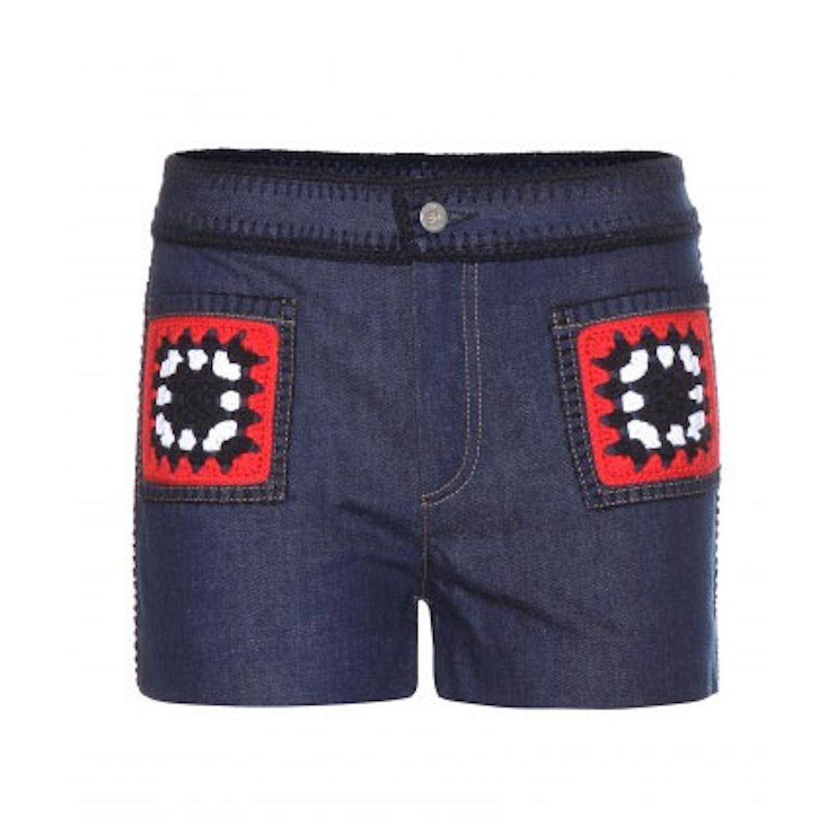 Miu Miu Embroidered denim shorts