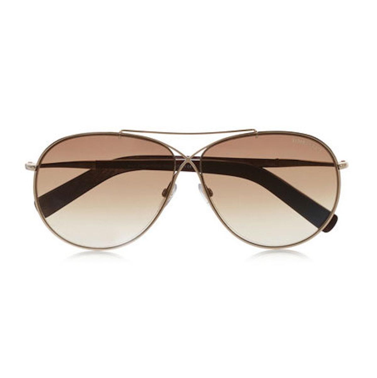 Tom Ford Eva aviator style gold-tone sunglasses