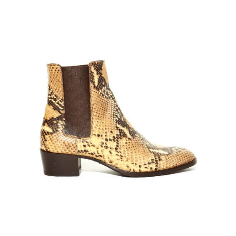Saint Laurent Wyatt python-effect Chelsea boots