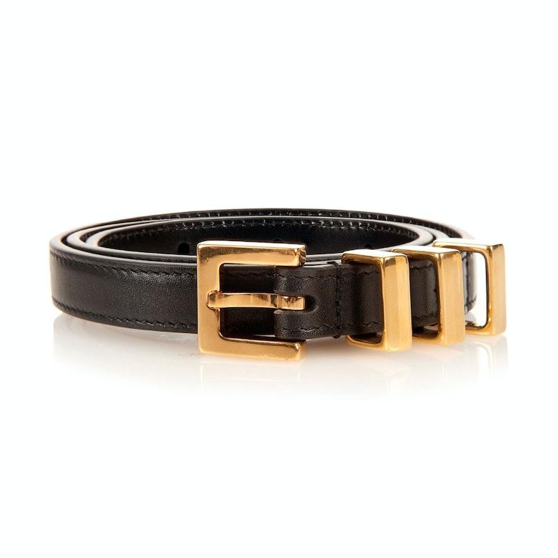 Saint Laurent gold-tone metal bar and leather belt