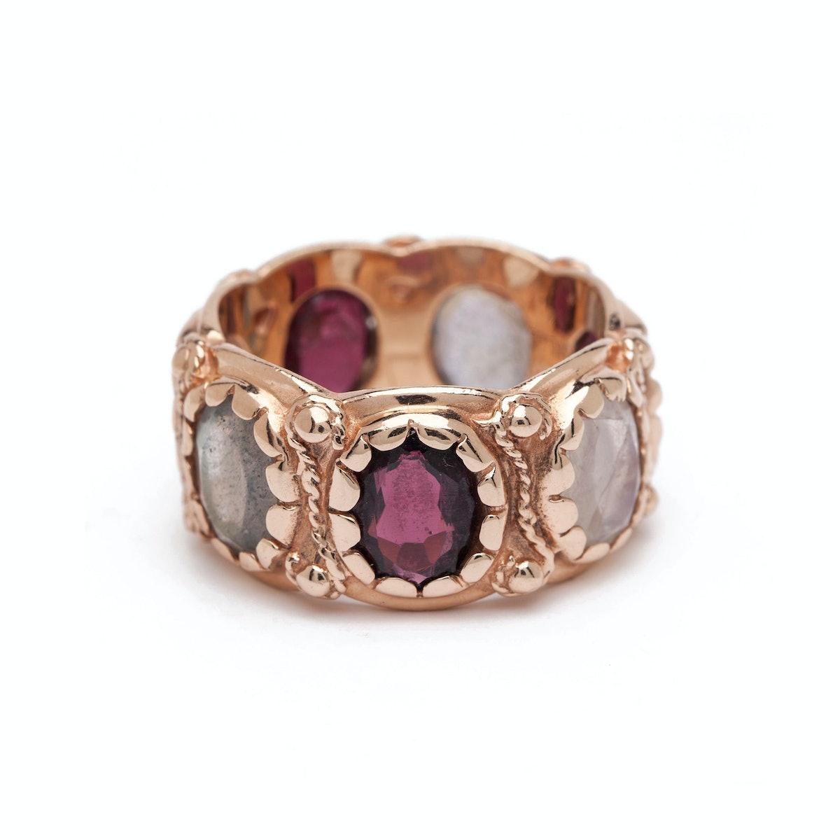Arik Kastan 14K rose gold, Labradorite, moonstone, and garnet ring