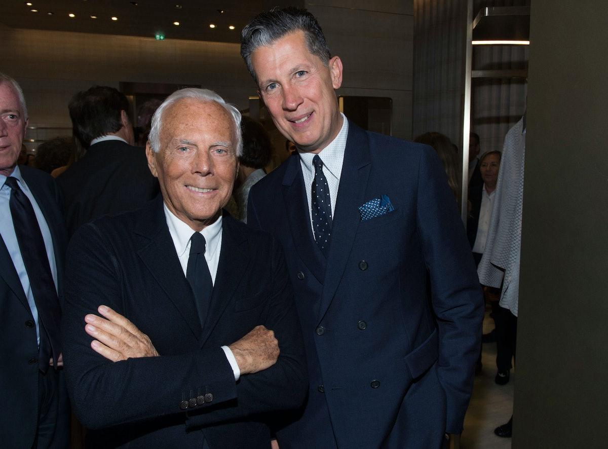 Stefano Tonchi, with Giorgio Armani