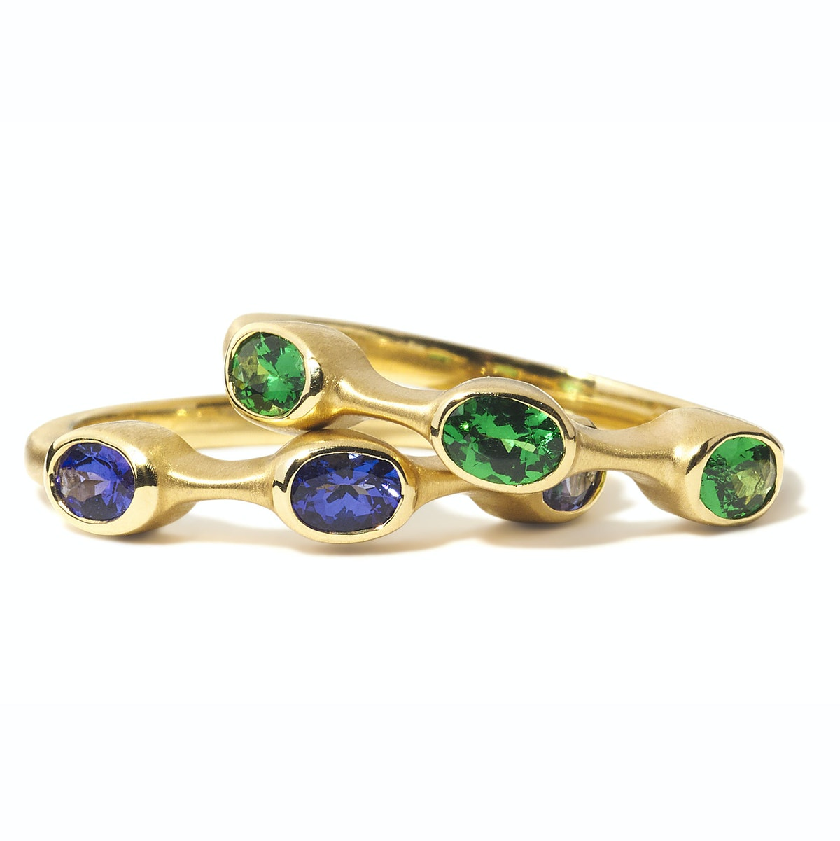 Carelle gold and blue tanzanite ring