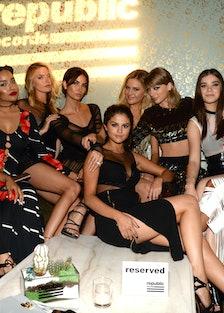 Martha Hunt, Lily Aldridge, Selena Gomez, Taylor Swift, Hailee Steinfeld and Serayah McNeill