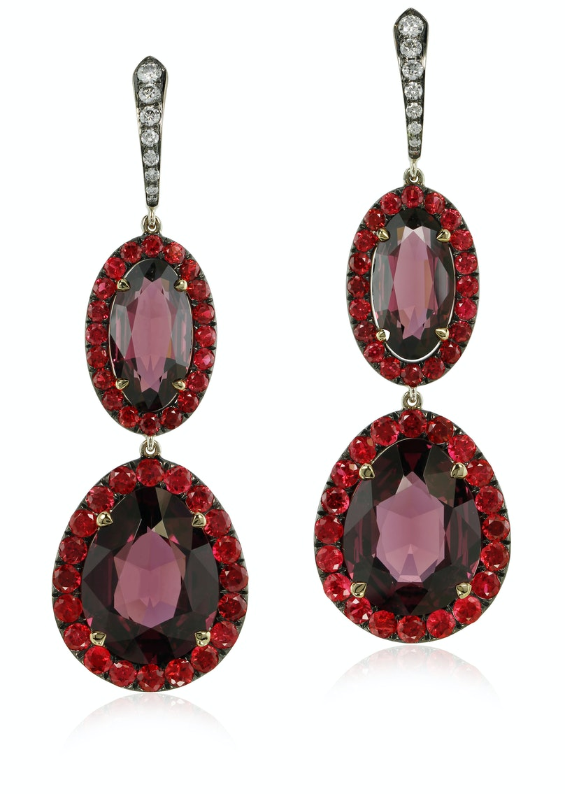 Ivy New York gold, rhodolite, spinel, and diamond earrings