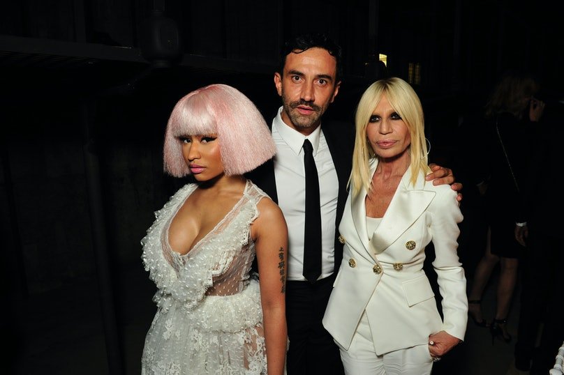 Nicki Minaj, Riccardo Tisci, and Donatella Versace