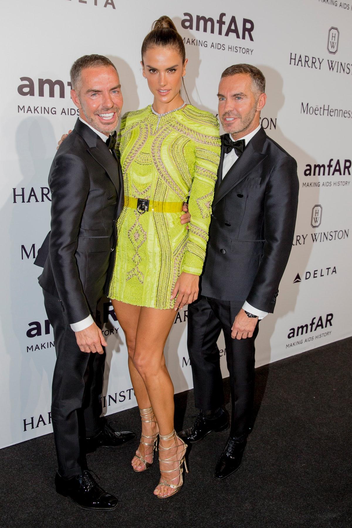 Alessandra Ambrosio with Dean and Dan Caten