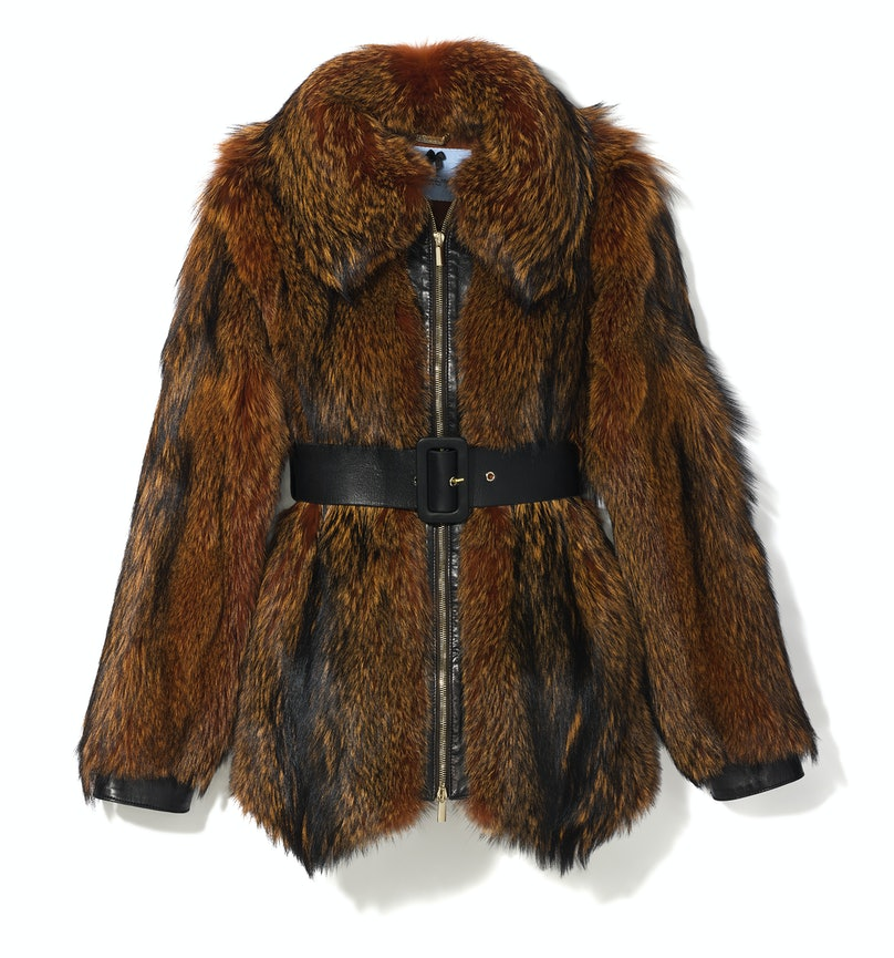 Blumarine belted fur jacket