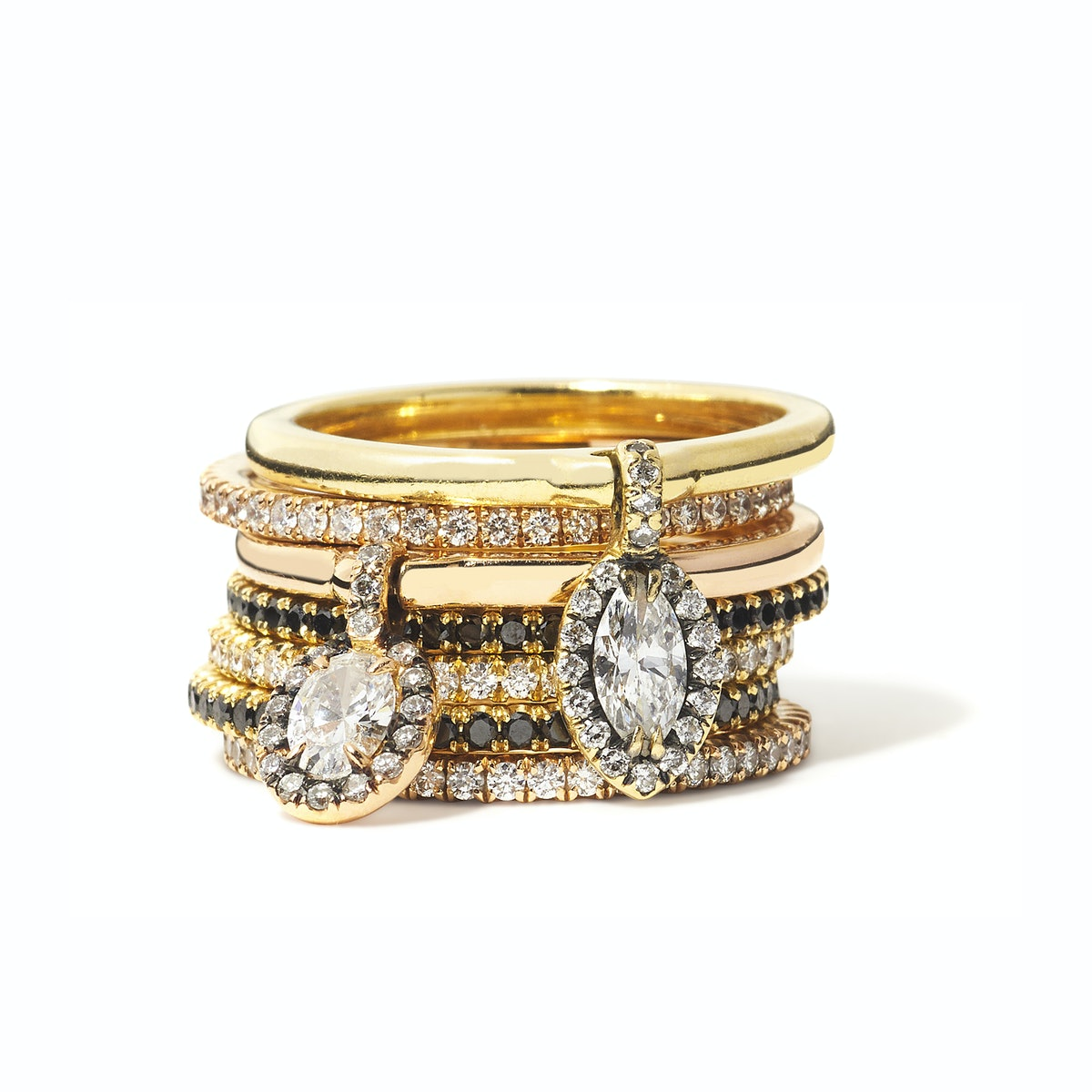 Forevermark by Jade Trau gold and diamond rings