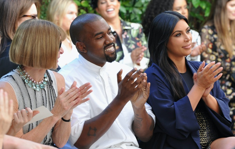 Anna Wintour, Kanye West, and Kim Kardashian