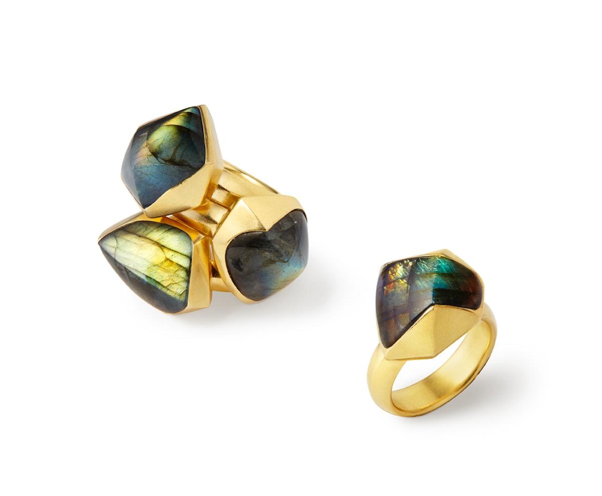Katherine Jetter 20K yellow gold and labradorite rings