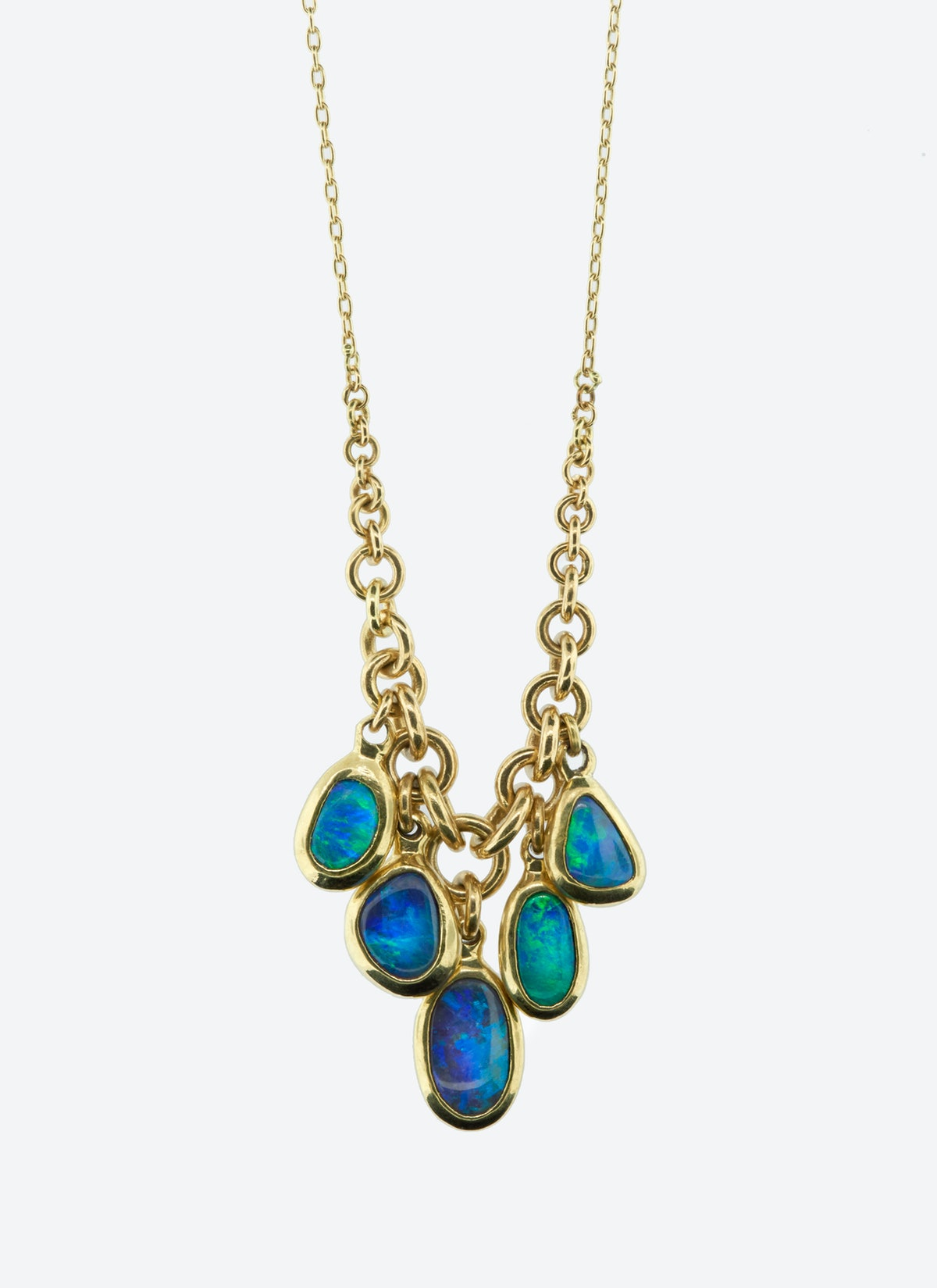 Ten Thousand Things 18K gold and black opal necklace,