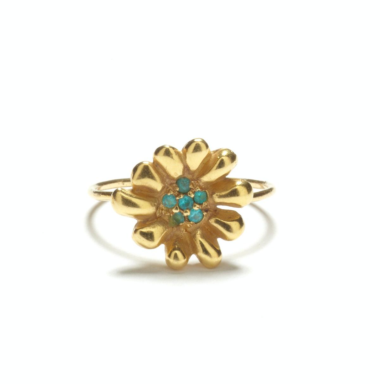 Elisa Solomon Jewelry 18K yellow gold and Paraiba tourmaline ring