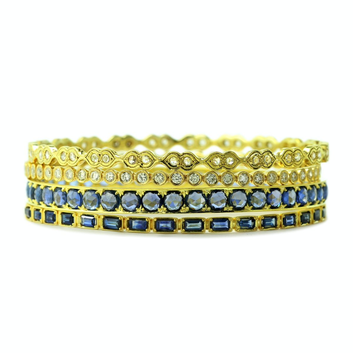 Ila collection 14k recycled yellow gold, diamond and blue sapphire bangles