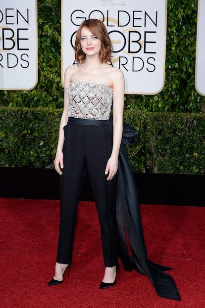 Emma Stone at the 2015 Golden Globe Awards.