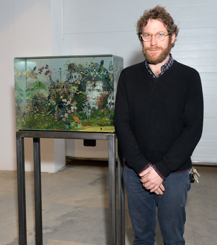 Dustin Yellin with his new piece for Ruinart