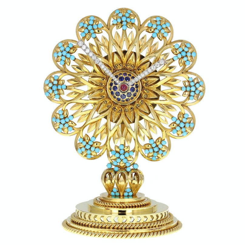 Boucheron Imperial Iranian Presentation Gem Set Gold Clock