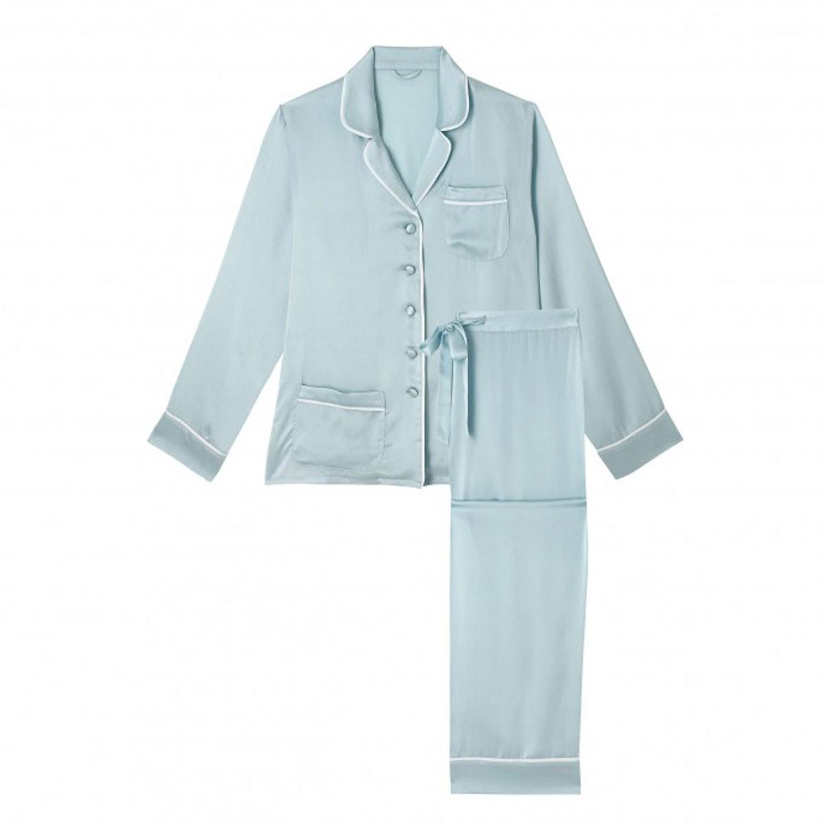 Olivia von Halle Ave Duck Egg Silk Pyjamas