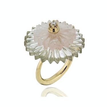 Alice Cicolini gold, quartz, amethyst, and diamond ring
