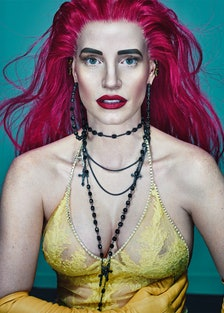 Jessic Chastina with pink hair.