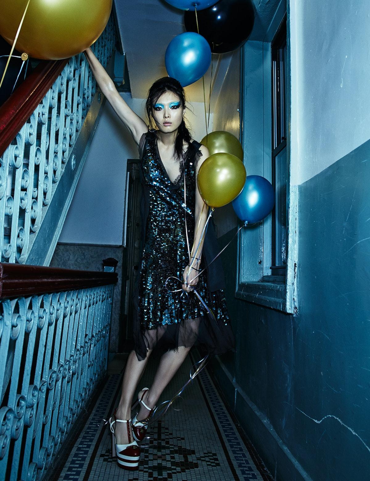 Lanvin dress, Gucci shoes.