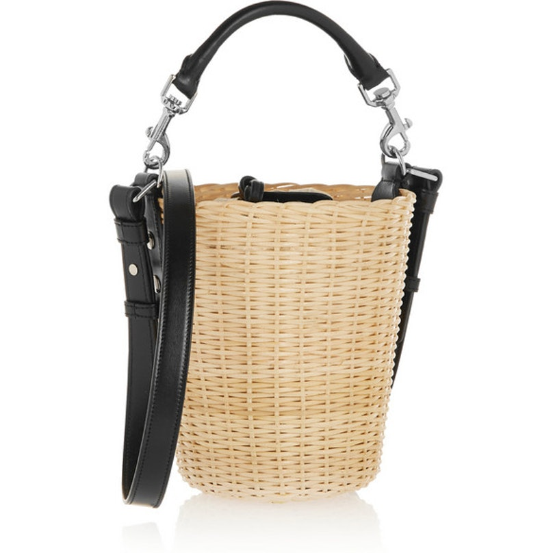 Saint Laurent Panier small leather-trimmed bamboo shoulder bag