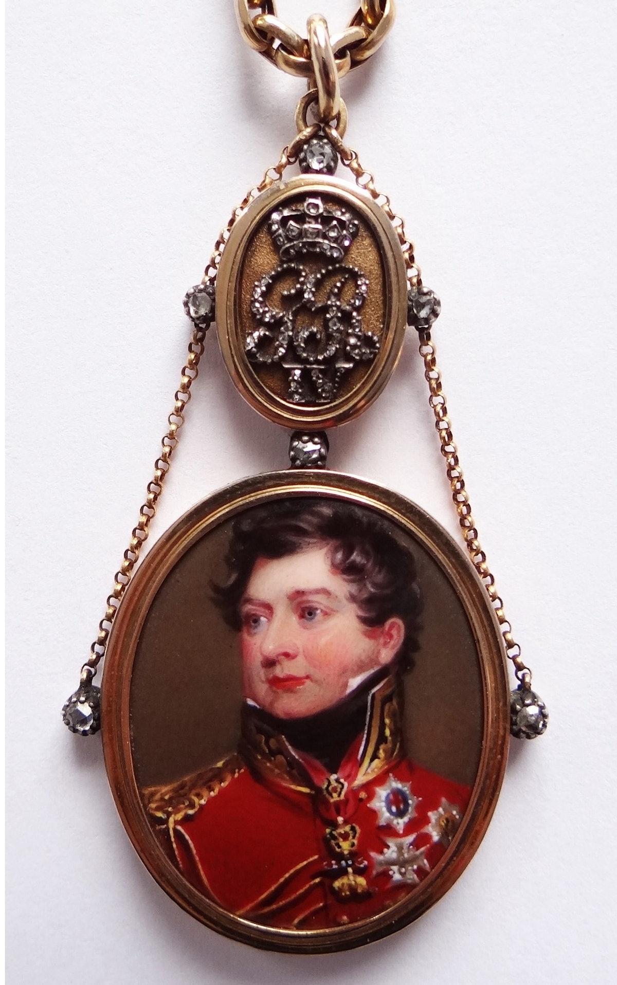 Elle Shushan Henry Bone RA enamel portrait of George IV as PrinceRegent after Lawrence set in gold +diamonds c1821