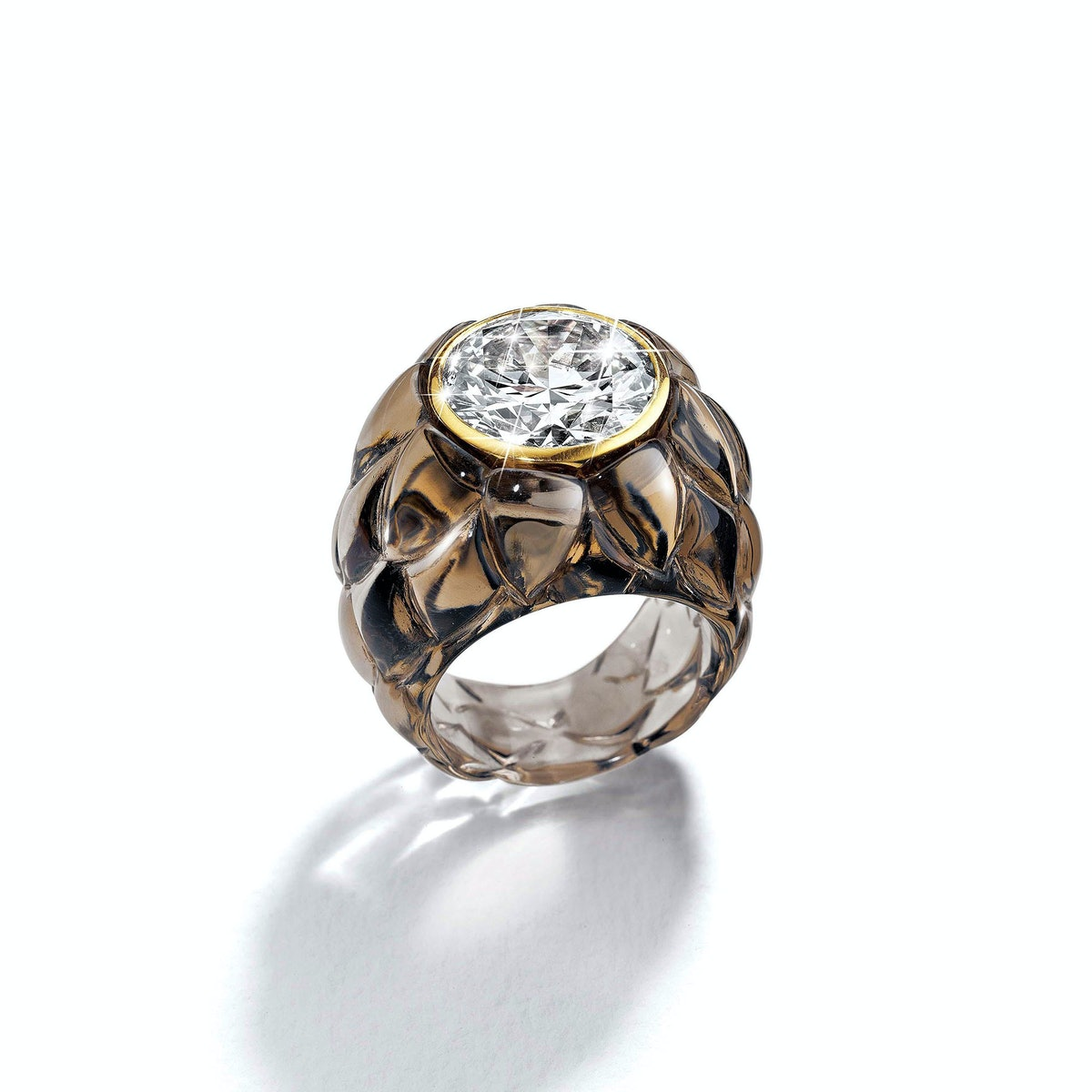 Belperron-7.34-Carat-Diamond-and-Carved-Smoky-Quartz-Artichoke-Rings,-Price-Upon-Request,-at-Belperron.com