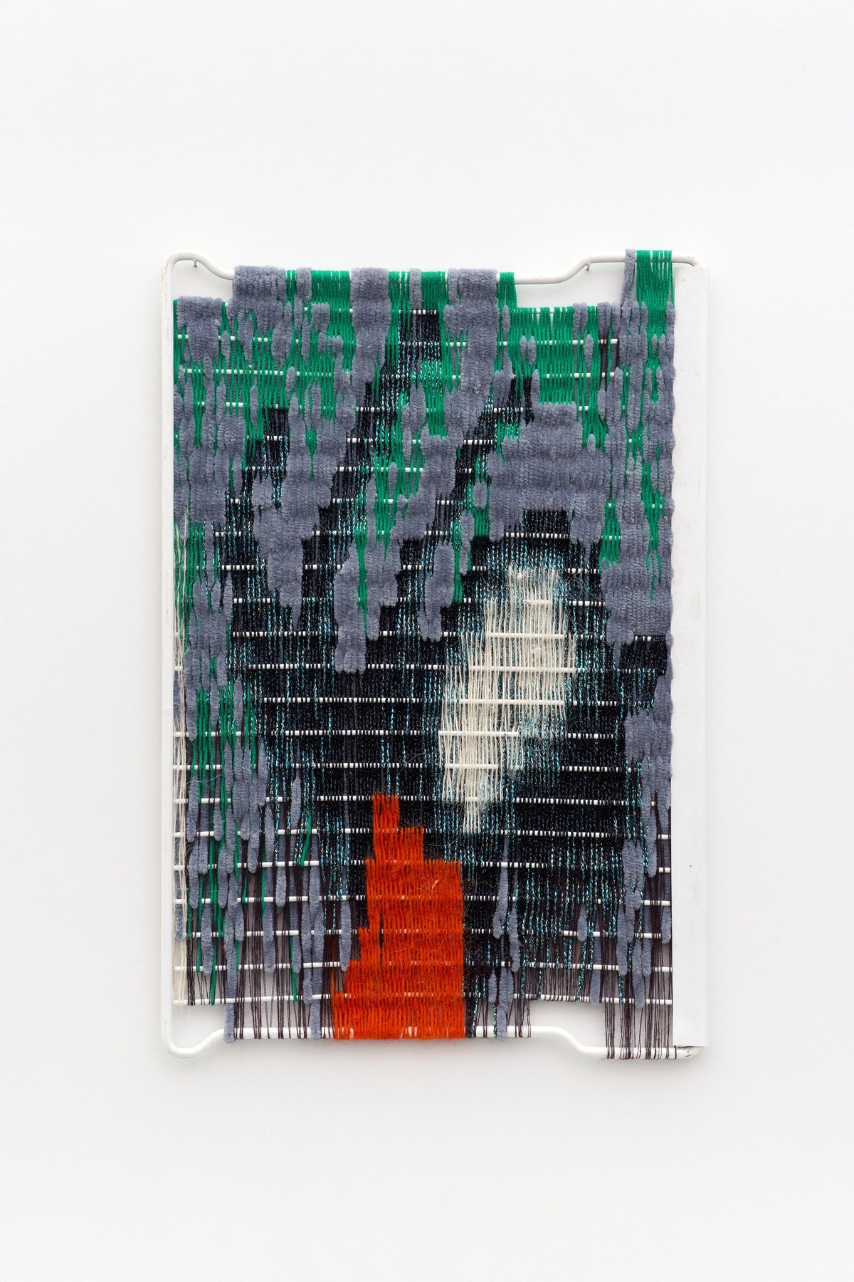 Zoë Paul_Hand Sign C_2015_wool and thread on found fridge grill_45x30 cm_Courtesy The Breeder