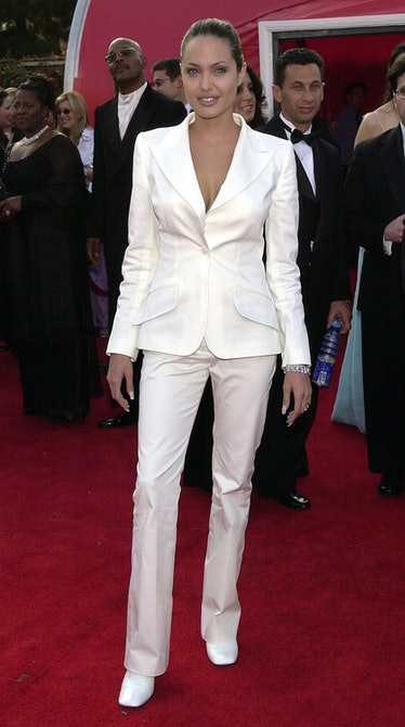 Angelina Jolie wearing a white suit