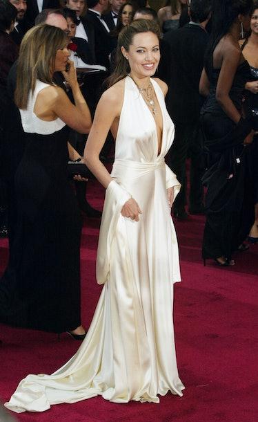 Angelina Jolie wearing a white dress