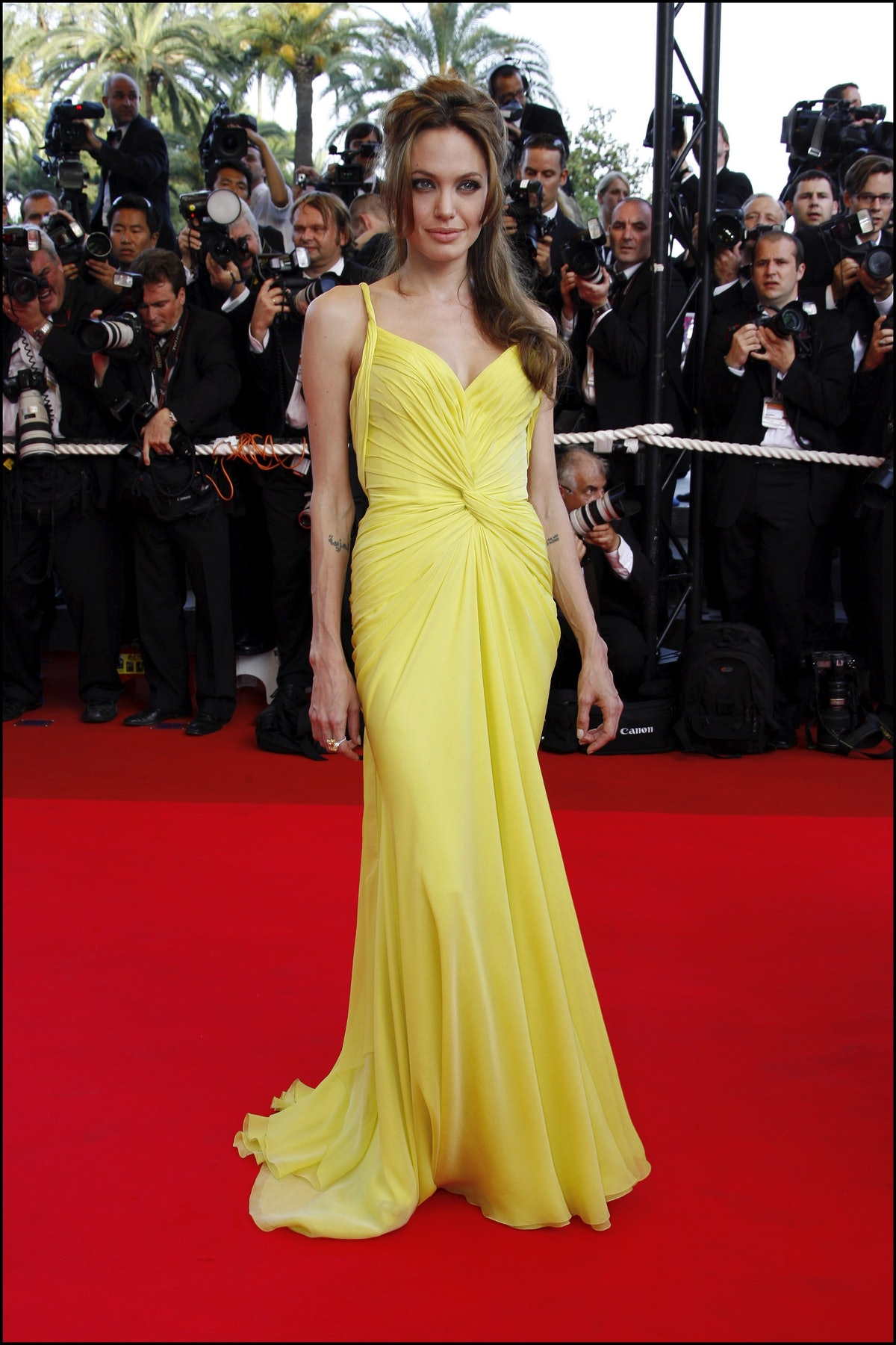 Angelina Jolie in a canary yellow gown