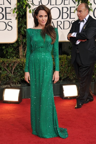 Angelina Jolie in an emerald gown