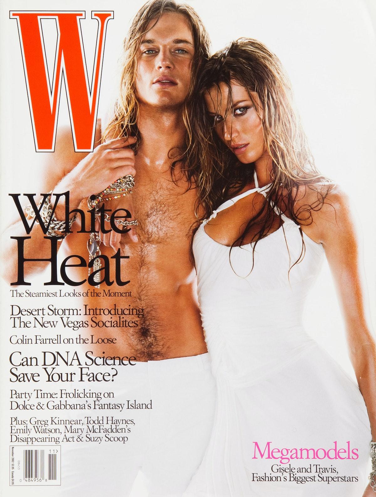 Travis Fimmel and Gisele Bundchen on the cover of W Magazine November 2002