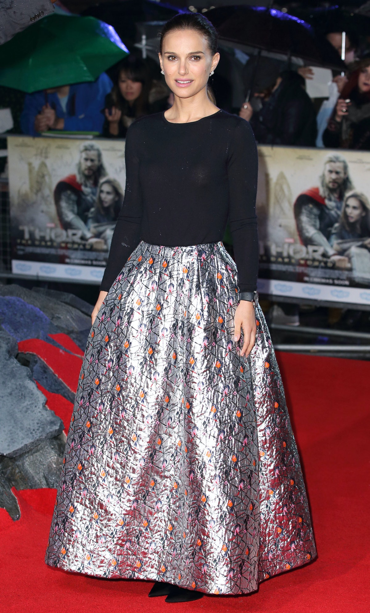 """Natalie Portman attends the """"Thor"""" premiere in Dior. Photo by Getty Images."""