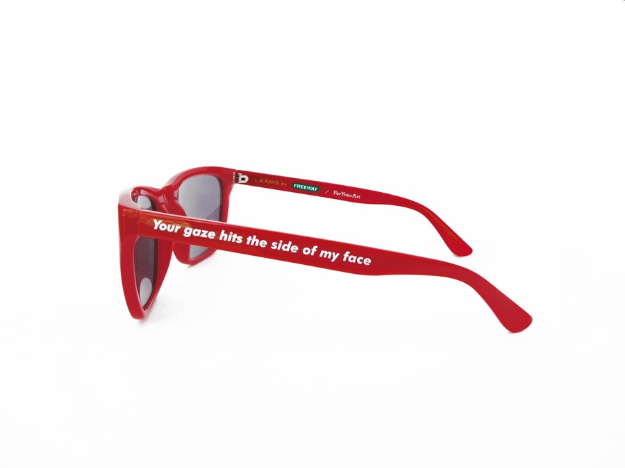 Barbara Kruger L.A. Rays Sunglasses by Freeway Eyewear and ForYourArt, $200, [give-good-art.com](https://give-good-art.myshopify.com/products/barbara-kruger-l-a-rays-sunglasses-by-freeway-eyewear)